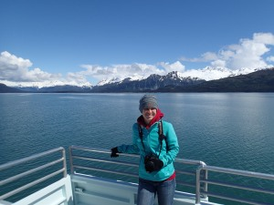 Jennifer Hellmann on a glacier cruise in the Prince William Sound.